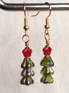 Christmas tree earrings green with red stars. made in Ireland. by terramor on Etsy