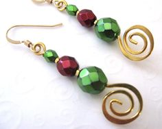 Christmas Earrings, Red and Green Beaded Earrings with Golden Swirls,Traditional Holiday Jewelry, Holiday Fashion. $16.00, via Etsy.
