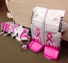 Breast Cancer Awareness Hockey Goalie Pad / Need these in blue with a grey ribbon for Diabetes. Hockey Goalie Pads, Goalie Gear, Goalie Mask, Blackhawks Hockey, Ice Hockey, Hockey World, Nhl News, Detroit Red Wings, Breast Cancer Awareness