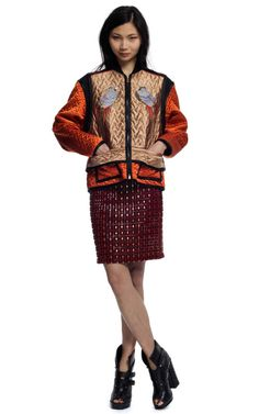 Proenza Schouler EMBROIDERED MINI SKIRT, LONG SLEEVE QUILTED YOKE TOP, and AMAZZZZZING QUILTED JACKET