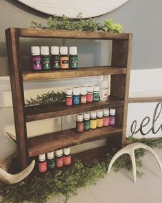Easy DIY Essential Oil Shelf - little blue barn