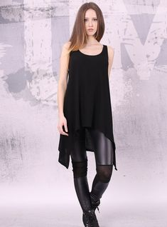 Hey, I found this really awesome Etsy listing at https://www.etsy.com/listing/183812629/asymmetrical-black-sleeveless-tunic-top