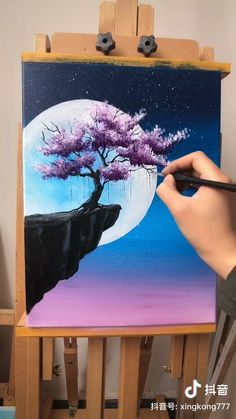 Painting Idea - Tree And Moon - A simple demo to show you how to draw tree and m. - Painting Idea – Tree And Moon – A simple demo to show you how to draw tree and moon. Simple Canvas Paintings, Easy Canvas Art, Small Canvas Art, Art Paintings, Magical Paintings, Mini Canvas Art, Pastel Paintings, Indian Paintings, Diy Canvas