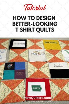 Don't settle for a boring t-shirt quilt design -- use these tips to make your t-shirt quilt look beautiful. Tutorial from NewQuilters.com #quilting #quilts Quilting For Beginners, Sewing Projects For Beginners, Quilting Tips, Quilting Designs, Quilt Design, Quilting Projects, Sewing Patterns Free, Free Sewing, Quilt Patterns