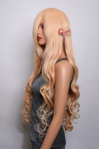 "Hera- 38"" Peach Blonde Curly Wavy Long Cosplay Wig *"