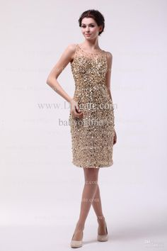 09dc492811 Wholesale Cocktail Dresses - Buy 2014 Sexy Gold Sheath Cocktail Dresses Crew  Neck Sleeveless Rhinestones Sequins · Bling Prom ...