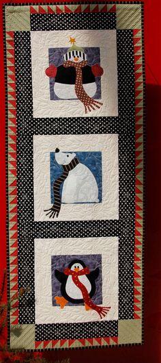 Winter Buddies Wallhanging Pattern: w Snowman, Penguin & Polar Bear appliques