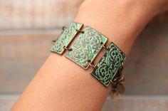 Bohemian Metal Cuff. Stunning Vintage Looking Turquoise Metal Patina Cuff Bracelet.