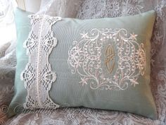 Antique Lace Embellished Custom Embroidered Victorian Monogram Handmade Pillow or Cushion Cover