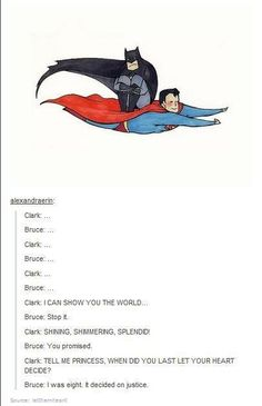 Superman/Batman; A Whole New World  Ha!  Being a mom of only girls, this brought super hero humor to my world!