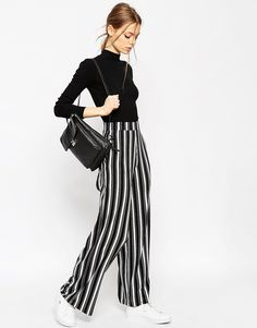 Image 1 of ASOS Jersey Wide Leg Pants in Vertical Mono Stripe