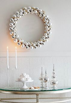 Holiday Home Decor. Silver wreath.