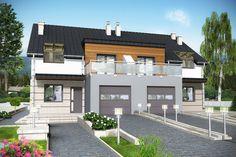 DOM.PL™ - Projekt domu Mój dom Dzielżan bliźniak BL1 z garażem CE - DOM BR6-03 - gotowy projekt domu
