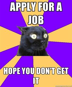 Crazy how accurate this is. 'Cause I want a job, and then again, I don't...Sigh...Anxiety Cat.