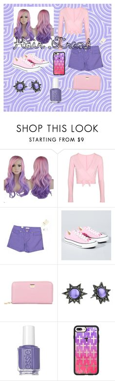 """Pink and Purple Hair Trend"" by trumpet9104 ❤ liked on Polyvore featuring beauty, Ballet Beautiful, Seven7 Jeans, Converse, Dolce&Gabbana, Rebecca Minkoff, Essie, Casetify, hairtrend and rainbowhair"