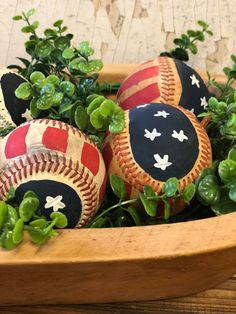 I created some Americana bowl fillers using baseballs. Fourth Of July Decor, 4th Of July Celebration, 4th Of July Decorations, 4th Of July Party, July 4th, Christmas Decorations, Americana Decorations, Patriotic Party, Patriotic Crafts