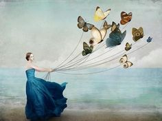 """""""Wonderland"""" Picture by Christian Schloe posters, art prints, canvas prints, greeting cards or gallery prints. Find more Picture art prints and posters in the ARTFLAKES shop. Art And Illustration, Digital Painter, Digital Art, Canvas Prints, Art Prints, Butterfly Art, Butterfly Balloons, Butterfly Images, Dragonfly Art"""