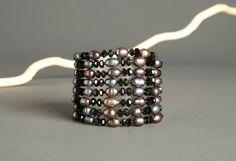Grey Pearl Multi Strand Beaded Bracelet  8 Strand by AmphaiJewelry