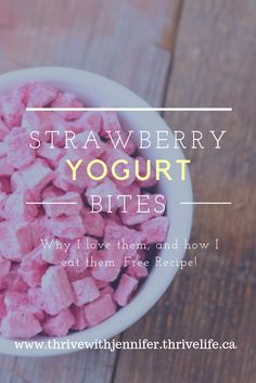 Yogurt Bites are fantastic! Strawberry just makes them that much better! Here are my top 3 ways to eat this delicious snack that is low in sugar and high in flavour! Healthy School Snacks, Healthy Eating, Yogurt Bites, Thrive Life, Yummy Snacks, Free Food, Great Recipes, Strawberry, Sugar