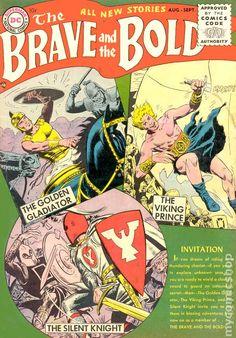 Comics Code - The Golden Gladiator - The Viking Prince - Invitation - Shield - George Perez, Joe Kubert Brave And The Bold, Be Bold, Old Comic Books, Comic Book Covers, Old Comics, Vintage Comics, Robert E Howard, Joe Kubert, Action Comics 1