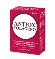 ANTIOX-COLÁGENO  Complemento alimenticio a base de Colágeno, Ácido Hialurónico, Coenzima Q-10 y Vitamina C.  La vitamina C contribuye a la protección de las células frente al daño oxidativo y a la formación normal de colágeno para el funcionamiento normal de la piel. 40 cápsulas.