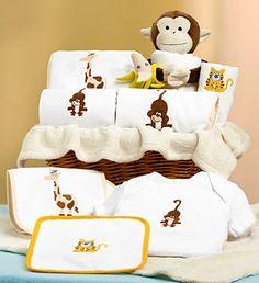 Jungle Friends: New Baby Boy or Girl Gift Basket #baby #newbaby #giftsforbabies #monkeys