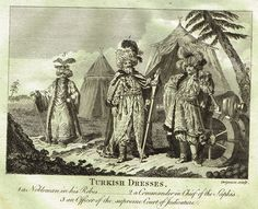 """Bankes's Geography - """"TURKISH DRESSES, A NOBLEMAN IN HIS ROBES"""" - Copper Engraving - 1771"""