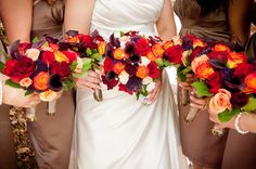 I like the reds and oranges used in these bouquets