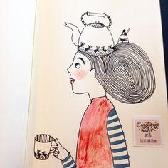Another tea pot girl for our #artjournal #wundertüte  #illustration #illustrationoftheday  #morningcoffee #morningdoodle #coffeelove #handlettering #drawing  #typography  #draweveryday #instaartist  #illustratorsofinstagram #art_we_inspire #quiettime #relaxationtime #peaceful #relaxing #mindfulnessmatters #inspiration #makersmovement  #simplepleasure #slowlivingforlife #bookworm #berlinillustration #bookillustration #book #bücherwurm  #booklover #matskidbook