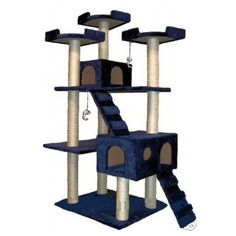 The Collosal Deluxe Blue cat tree condo *** Remarkable product available now. : Cat Tree and Tower