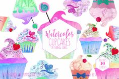 CUTE WATERCOLOR CUPCAKE Clipart Commercial Use Clip Art Watercolour #Cupcakes #Birthday #Party #Clipart Fun Desserts Planner Sticker #Graphics by #ClipArtBrat on #Etsy