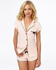 HEART BUTTON SHORT SET PINK - Betsey Johnson