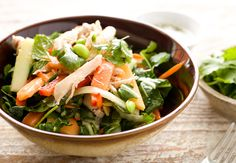 Easy Thai Chicken Salad: Poached chicken and chopped bok choy tossed with crunchy veggies and ripe papaya fruit. Tossed with lots of fresh herbs and a sweet/savory fish sauce dressing. Perfect for a light dinner or packed lunches!   macheesmo.com