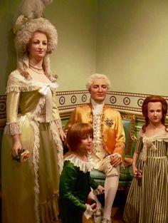 María Antonieta ,Luis Carlos ,Luis XVI y Madame Royal, en el Museo de cera de Madame Tussaud en Londres.