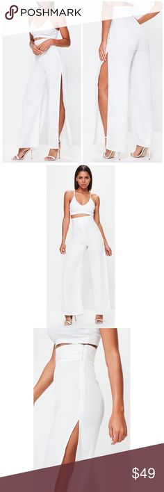 """Missguided Sz 12 L White Split High Waisted Pants Company: Missguided Size: 12 Large (UK sz 16) Condition: New with tags Material: 100% polyester  Notes: luxe pants featuring a side split style, white hue, & side belt detail Relaxed fit- concealed side zipper machine washable Belt detail shown in last photo  Measurements laying down: Waist: 17"""" Inseam: 32"""" Split: 30.5"""" Side seam (waist to hem):46.5"""" Missguided Pants Wide Leg"""