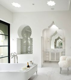 White on white moroccan style bathroom. Wonderful! Bad Inspiration, Bathroom Inspiration, Bathroom Ideas, Bathroom Designs, Bathroom Inspo, Bathroom Remodeling, Bathroom Plans, Remodel Bathroom, Bathroom Layout