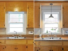 remove decorative wood over kitchen sink and install pendant fixture instead of pot light thats there above sink lighting