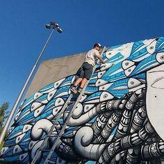 """352 curtidas, 9 comentários - Cadumen (@cadumen) no Instagram: """"Início do terceiro e maior mural produzido em Fafe-Portugal #cadumen #graffitiart #fafe #wip…"""""""