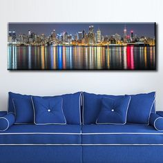 Large Overal Box Framed Canvas Print Wall Art Decor Room Artwork Stretched Gallery Wrapped Painting Hanging Decorative Modern Home & Living Popular Known Street Manhattan Night Landscape Post Building Cityscape Like Painting Framed Canvas Prints, Artwork Prints, Canvas Frame, Decor Room, Wall Art Decor, Wall Stickers Murals, Box Frames, Outdoor Sofa