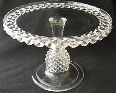 """EAPG """"PAVONIA"""" aka """"Pineapple Stem"""" pattern cake stand made by the Ripley Glass Company circa 1885, 9.75""""D x 6.75""""H"""