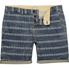 blue aztec stripe shorts - casual shorts - shorts - men - River Island