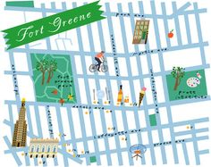 Fort Greene map by Lena Corwin Walking Map, Local Map, Visiting Nyc, Empire State Of Mind, I Love Ny, All I Ever Wanted, Map Design, Graphic Design, City Maps