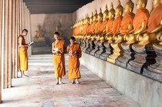Thai Novices Monk - Thai Novices at temple in Ayutthaya Historical Park, Thailand