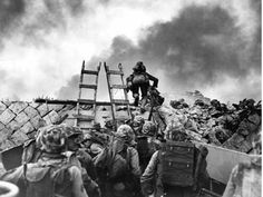 1st division marines climb over the sea wall as part of the Inchon Landing plan. Inchon was an important port for the South Koreans, and it was only 15 miles away from Seoul, the capitol General MacAthur intended and was going to regain lost ground.