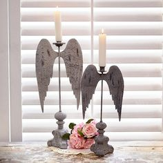 Shabby Cottage Chic French Inspired Metal Angel Wing Candle Holder SMALL metal