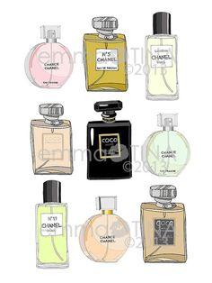 Chanel Perfumes X 9 Fashion Illustration Art Poster