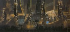 Syd Mead concept art of cityscape for the film Blade Runner.