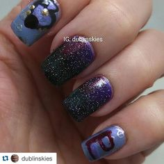 I love this so much especially the gradient and the time key top! #Repost @dublinskies with @repostapp.  Sailor Pluto! The index and pinkie fingers have Time Distortion by @yumelacquer for the base color. I stamped those fingers with silver keys to represent her being the keeper of the time keys. Her garnet orb and symbol are hand drawn on. The middle and ring fingers are a galaxy done in dark purple dark green and maroon since Setsuna is the Guardian of Space and Time and those are the…