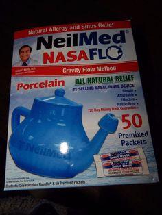 NeilMed Pharmaceuticals - NasaFlo Neti-Pot Porcelain with 50 Premixed Packets #NeilMed
