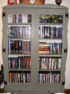 Converted an old gun cabinet that belonged to my grandparents into a DVD storage cabinet.